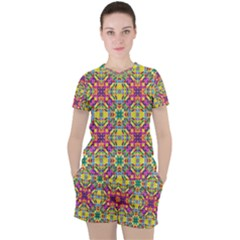 Triangle Mosaic Pattern Repeating Women s Tee And Shorts Set by Mariart