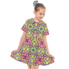 Triangle Mosaic Pattern Repeating Kids  Short Sleeve Shirt Dress