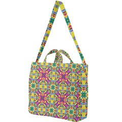 Triangle Mosaic Pattern Repeating Square Shoulder Tote Bag by Mariart