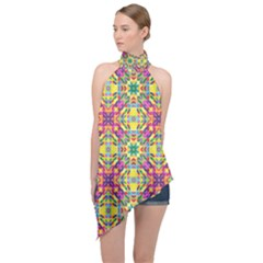 Triangle Mosaic Pattern Repeating Halter Asymmetric Satin Top by Mariart