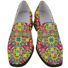Triangle Mosaic Pattern Repeating Women s Chunky Heel Loafers by Mariart