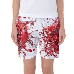 Red Pomegranate Fried Fruit Juice Women s Basketball Shorts by Mariart