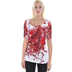 Red Pomegranate Fried Fruit Juice Wide Neckline Tee