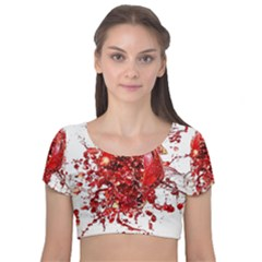 Red Pomegranate Fried Fruit Juice Velvet Short Sleeve Crop Top