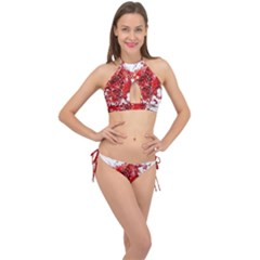 Red Pomegranate Fried Fruit Juice Cross Front Halter Bikini Set