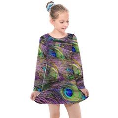 Peacock Feathers Kids  Long Sleeve Dress by WensdaiAmbrose