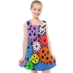 The Gears Are Turning Kids  Cross Back Dress by WensdaiAmbrose