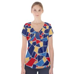 Pattern Tile Wall Background Short Sleeve Front Detail Top
