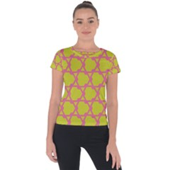 Pattern Background Structure Pink Short Sleeve Sports Top