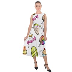 Doodle Cartoon Drawn Cone Food Midi Tie Back Chiffon Dress