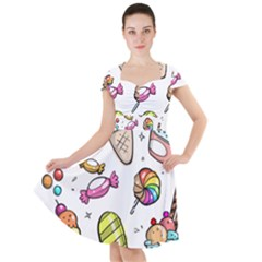 Doodle Cartoon Drawn Cone Food Cap Sleeve Midi Dress
