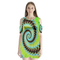 Fractal Julia Mandelbrot Art Shoulder Cutout Velvet One Piece