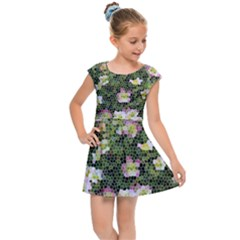 Mosaic Structure Pattern Background Kids  Cap Sleeve Dress