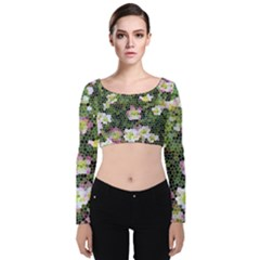Mosaic Structure Pattern Background Velvet Long Sleeve Crop Top