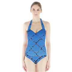 Pattern Structure Background Blue Halter Swimsuit