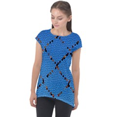 Pattern Structure Background Blue Cap Sleeve High Low Top