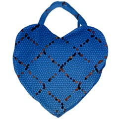 Pattern Structure Background Blue Giant Heart Shaped Tote
