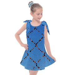 Pattern Structure Background Blue Kids  Tie Up Tunic Dress