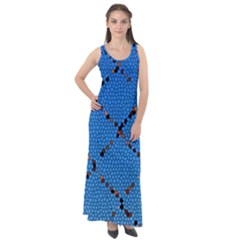 Pattern Structure Background Blue Sleeveless Velour Maxi Dress
