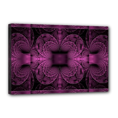 Fractal Magenta Pattern Geometry Canvas 18  X 12  (stretched)