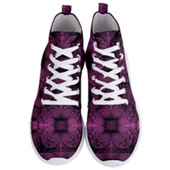 Fractal Magenta Pattern Geometry Men s Lightweight High Top Sneakers by Pakrebo