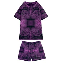 Fractal Magenta Pattern Geometry Kids  Swim Tee And Shorts Set by Pakrebo