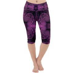 Fractal Magenta Pattern Geometry Lightweight Velour Cropped Yoga Leggings by Pakrebo