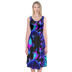 Fractal Pattern Spiral Abstract Midi Sleeveless Dress