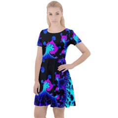 Fractal Pattern Spiral Abstract Cap Sleeve Velour Dress  by Pakrebo