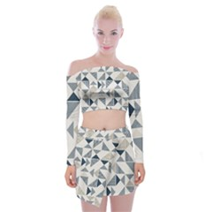 Geometric Triangle Modern Mosaic Off Shoulder Top With Mini Skirt Set