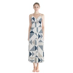 Geometric Triangle Modern Mosaic Button Up Chiffon Maxi Dress by Pakrebo