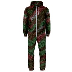Pattern Structure Background Lines Hooded Jumpsuit (men)