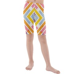 Line Pattern Cross Print Repeat Kids  Mid Length Swim Shorts by Pakrebo