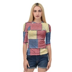 Model Mosaic Wallpaper Texture Quarter Sleeve Raglan Tee