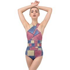 Model Mosaic Wallpaper Texture Cross Front Low Back Swimsuit