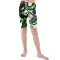 Fractal Green Trumpet Trump Kids  Mid Length Swim Shorts
