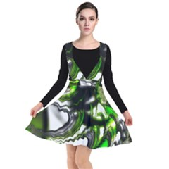 Fractal Green Trumpet Trump Plunge Pinafore Dress