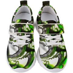 Fractal Green Trumpet Trump Kids  Velcro Strap Shoes