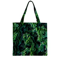 Green Pattern Background Abstract Zipper Grocery Tote Bag
