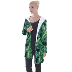 Green Pattern Background Abstract Longline Hooded Cardigan by Pakrebo
