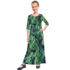 Green Pattern Background Abstract Kids  Quarter Sleeve Maxi Dress by Pakrebo