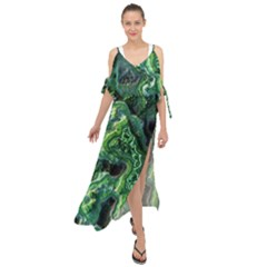 Green Pattern Background Abstract Maxi Chiffon Cover Up Dress