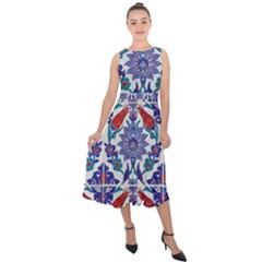 Art Artistic Ceramic Colorful Midi Tie Back Chiffon Dress
