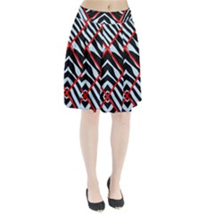 Model Abstract Texture Geometric Pleated Skirt