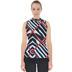 Model Abstract Texture Geometric Mock Neck Shell Top