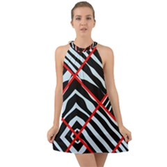 Model Abstract Texture Geometric Halter Tie Back Chiffon Dress