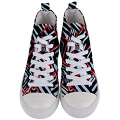 Model Abstract Texture Geometric Women s Mid Top Canvas Sneakers
