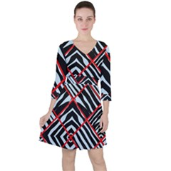 Model Abstract Texture Geometric Ruffle Dress