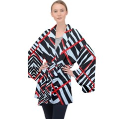 Model Abstract Texture Geometric Velvet Kimono Robe