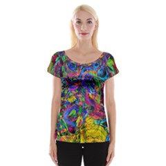 Pattern Structure Background Cap Sleeve Top